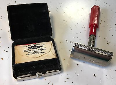 Vintage Metal Compact Gillette Razor with Dillon Beck Plastic Handle and Blade