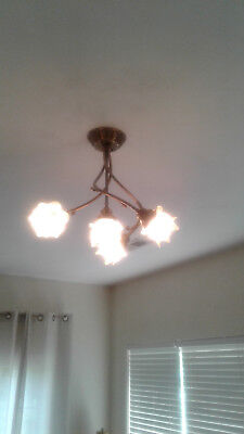 Vintage French Empire style Chandelier 4 Frosted Glass Tulip Flame Shades