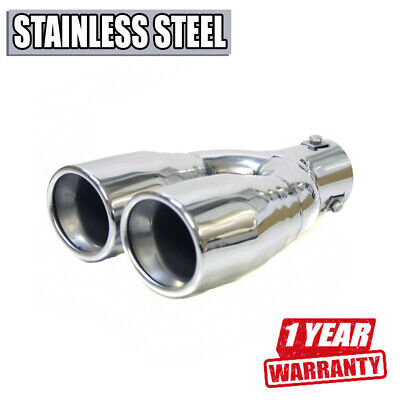 Twin Sport Car Exhaust Tip Muffler Trim Pipe Chrome Stainless Steel Durable