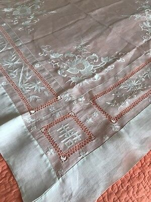 Vintage Hand Embroidered Linen Tablecloth Off White Ornate Beautiful 54""