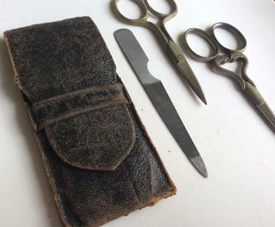 Antique leather thistle medical midwife scissors snake nail file manicure set