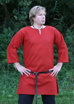 Medieval tunic, red-coloured, long, norsemen norman viking clothing LARP SCA