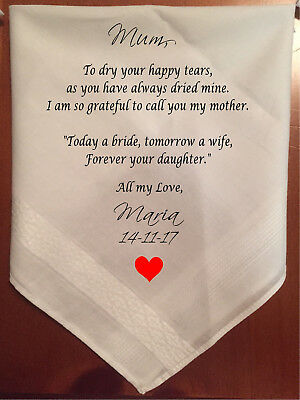 Mother of the Bride, to dry your tears, personalised wedding handkerchief