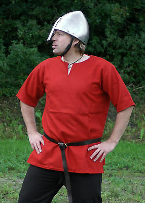 Medieval tunic, red, short sleeved, norsemen norman viking clothing LARP SCA