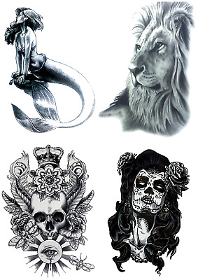 Supreme Temporary Fake Tattoo Marmaid Lion Skull Girl Designs Party Sticker Art