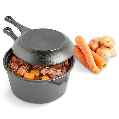 VonShef 2pc Pre-Seasoned Black Cast Iron Dutch Oven Set