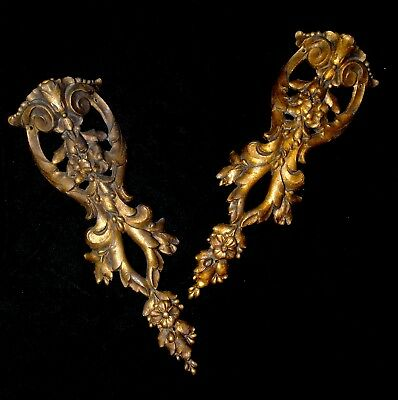 "PAIR OF ANTIQUE FRENCH  BRASS ORMOLU FURNITURE DECORS/ PEDIMENTS/ MOUNTS 8""x 3"""
