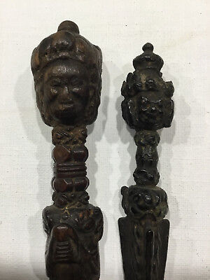 Lot of 2 antique Tibetan Phurba in wood