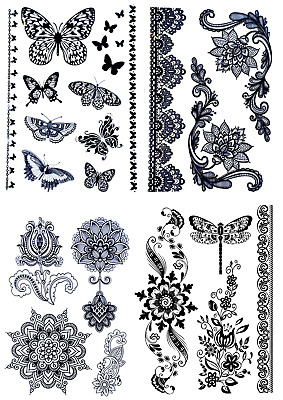 Supreme Temporary Fake Tattoo Butterfly Flower Mandala Designs Party Sticker