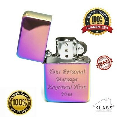 New Windproof Rainbow Icy Metal Lighter Engraved Personalised Birthday Xmas Gift