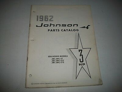 1962 Johnson Jw Jwl 17  Sea-Horse 3 Hp Outboard Illustrated Parts List Catalog