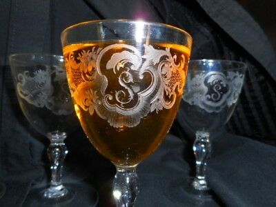 Antique crystal sherry glasses