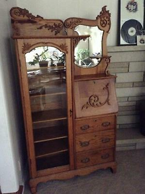 Antique Oak Side by Side Secretary Desk Bookcase Curio Cabinet with Working Key