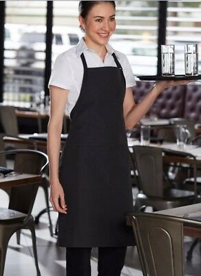 Chef Works B229 Bib Apron Pinstripe.Black and white,new in packaging