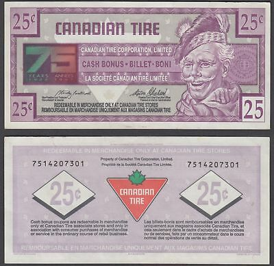Canada 25 Cents 1996 (XF) Banknote Canadian Tire 75 Years Anniversary