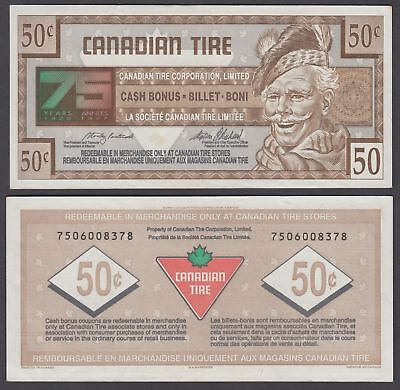 Canada 50 Cents 1996 (XF) Banknote Canadian Tire 75 Years Anniversary