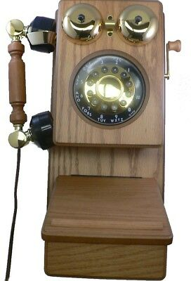 Classic Country Corded Wood Kitchen Wall Phone Telephone Wooden Oak Color  NEW