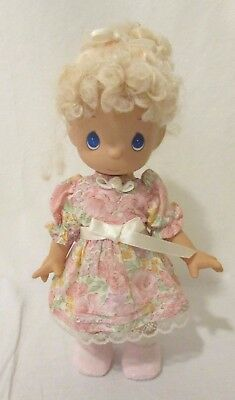 """Precious Moments Doll 1992 11"""" Floral Dress Blonde Hair Hard Silicone Baby"""