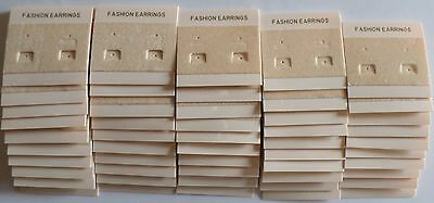 50 pieces of Fashion Earrings Jewelry Hanging Display Plastic Cards, Cream Color