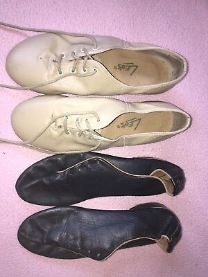 Lot Of 2 Pairs Leo's Tone Master Tap Shoes Black and Nude Womens Sz 6.5
