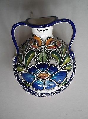 Wall pocket decorated with Flowers & Leaves and Blue Border Exc Cond