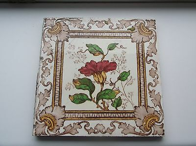 Art Deco/Edwardian Fire Surround Tiles brown and white 15.4cm square some wear