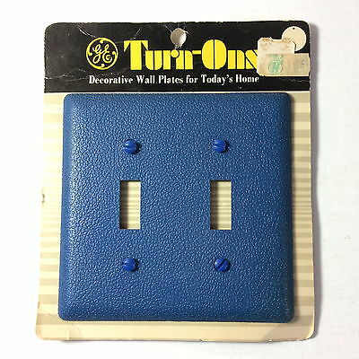 NOS VTG GE Turn-Ons BLUE Double Switch Wall Plate General Electric MOD MCM 1971