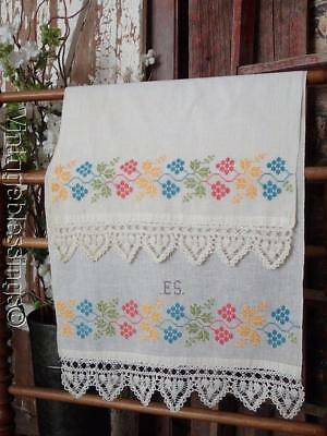 """EARLY Beautiful 19th Century Show Towel """"ES"""" Heart Lace"""