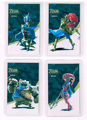 Zelda Breath of the wild cartes Lot 4 Cartes Amiibo Daruk ,Urbosa ,Mipha ,Revali