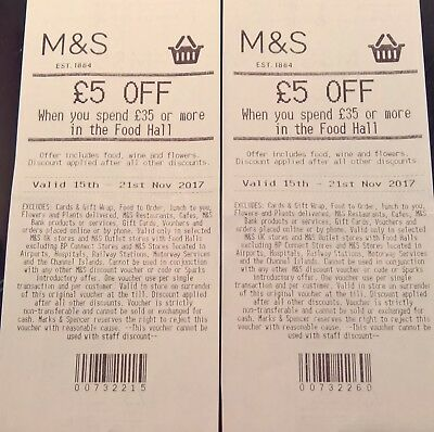 2 X £5 Off £35 Marks & Spencer M&s On Food, Wine &