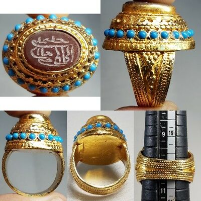 Antique Yemeni turquoise Gold gilded silver Agate islamic Writing Ring     # x1