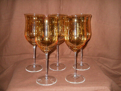 Lot of 5 Long Stem Smokey Topaz Fluted Crystal Stemware