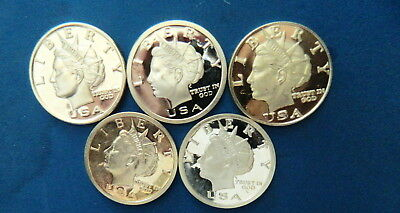 (5) Various Dates 1 Oz. .999 Fine Silver Bullion Rounds By Norfed