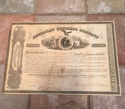 American Express Company Stock Certificate Signed Wells Fargo And Holland No.553