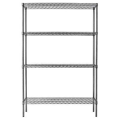 "Snap-Together Shelving 4-Shelf Wire Rack 48"" x 18"" x 72"" NSF Black Anthracite"