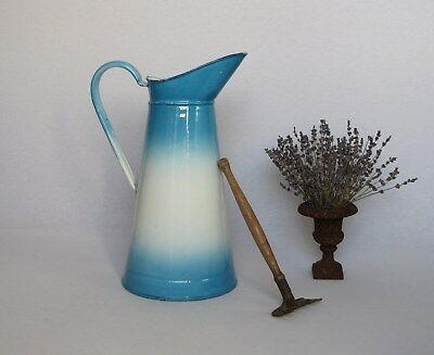 VINTAGE FRENCH ENAMELWARE BODY PITCHER in pretty blue and white shading