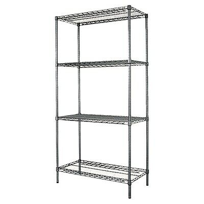 "4-Shelf Wire Rack 36"" x 18"" x 72"" inches Black Anthracite Storage Shelving NSF"