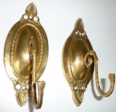 Brass Coat Hat Hall Tree Hooks Pair Set of 2 Vintage Wall Hanging