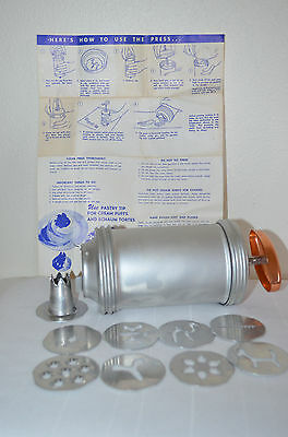 Vintage Cookie Press 8 Design Discs Recipes Instructions One Pastry Tip