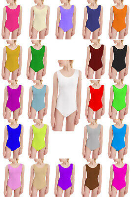 Girls Sleeveless Leotard Dance Gymnastics Ballet Top School Uniform *Sleeveless