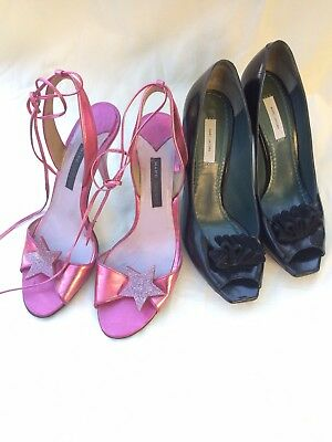 Lot of 2 Marc by Marc Jacobs Heel  Size 38 Black Peep-toe, Metal Pink Stiletto