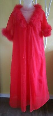 Vintage Nightgown and Robe Negligee Peignoir Red Feathers Med Chic Lingerie Co.