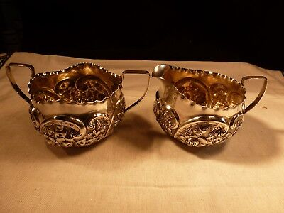 Antique Je Caldwell Sterling Silver Repousse Creamer Sugar Hand Chased Gold Wash