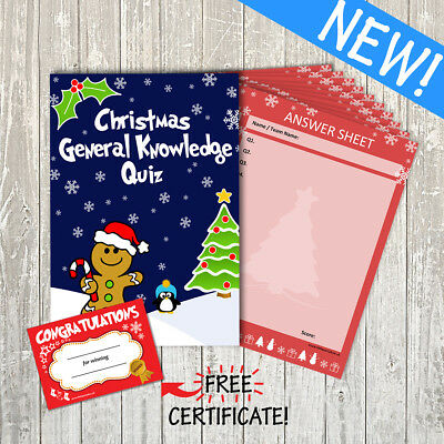 Christmas General Knowledge Quiz / Party / Family Game: 15 Questions -10 Player
