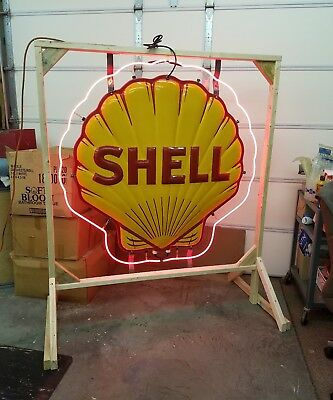 RARE 1930-40's Shell Neon Sign. Embossed. Double sided. Porcelain. 4ftx4ft