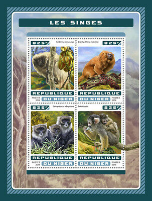 Niger 2016 MNH Monkeys Atlantic Titi Lion Tamarin 4v M/S Wild Animals Stamps