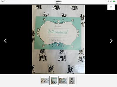 Whimsical Hotel Collection French Bulldog Queen Sheet Set Black/white