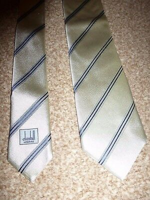 Dunhill London Italy Silver Stripe Winter Fall Silk Formal Suit Shirt Dress Tie