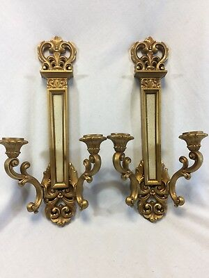 Vintage Set Gold Syroco Double Candle Wall Sconces Hollywood Regency 4061 Homco