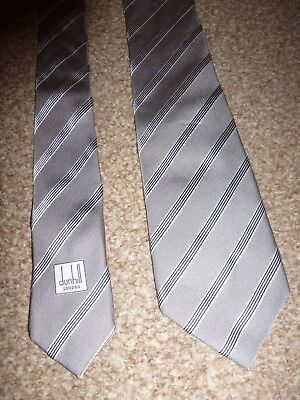 Dunhill London Italy Grey Stripe Winter Fall Silk Formal Suit Shirt Dress Tie